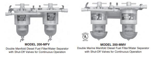 double manifold 200 Series Diesel Fuel Filter Water Separators